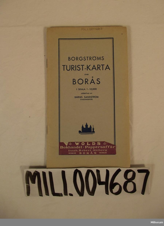 Karta, Borgströms Turist-karta över Borås. Skala 1:10000.