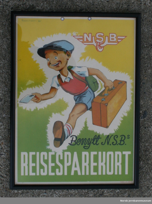 """Oppslag fra NSB: """"Benytt N.S.B.s reisesparekort"""""""