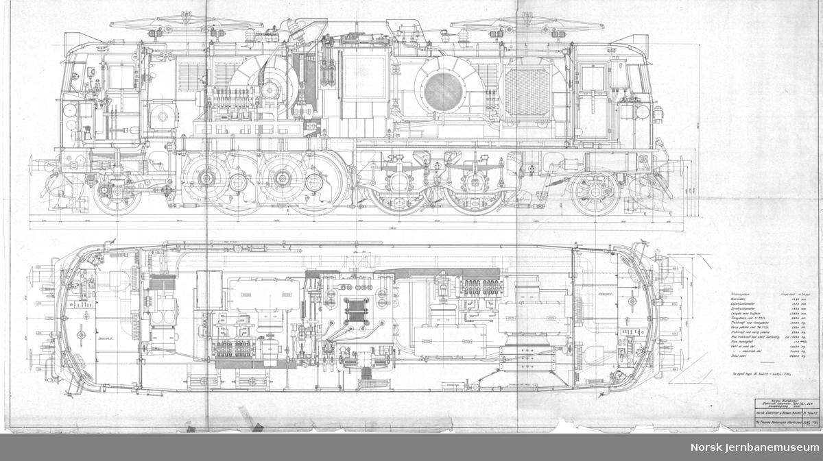 Hovedtegning, snitt. NEBB B.36672 / Thune El 8/1-770-1, papirkopi