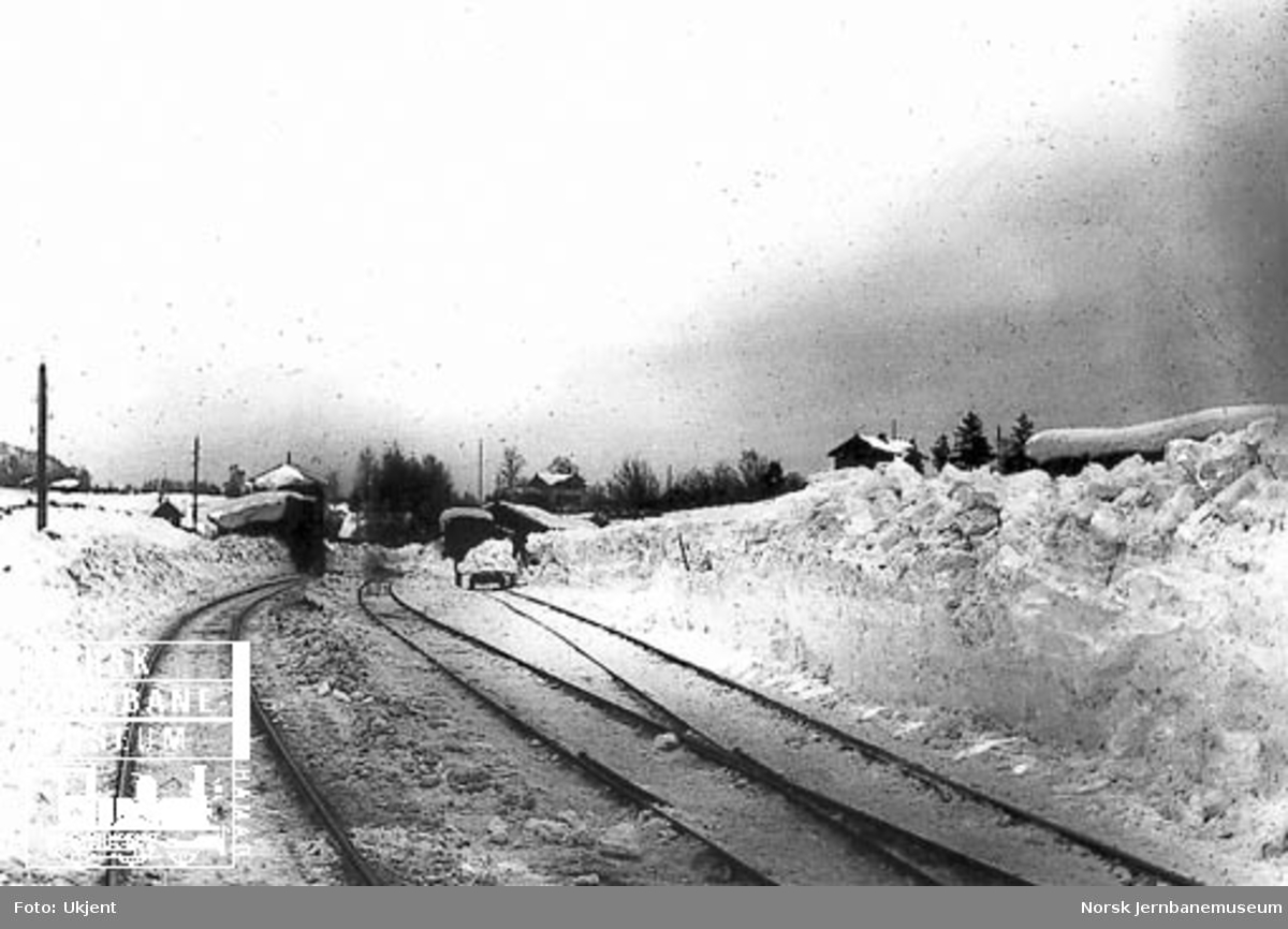 Asker stasjon med store snømengder