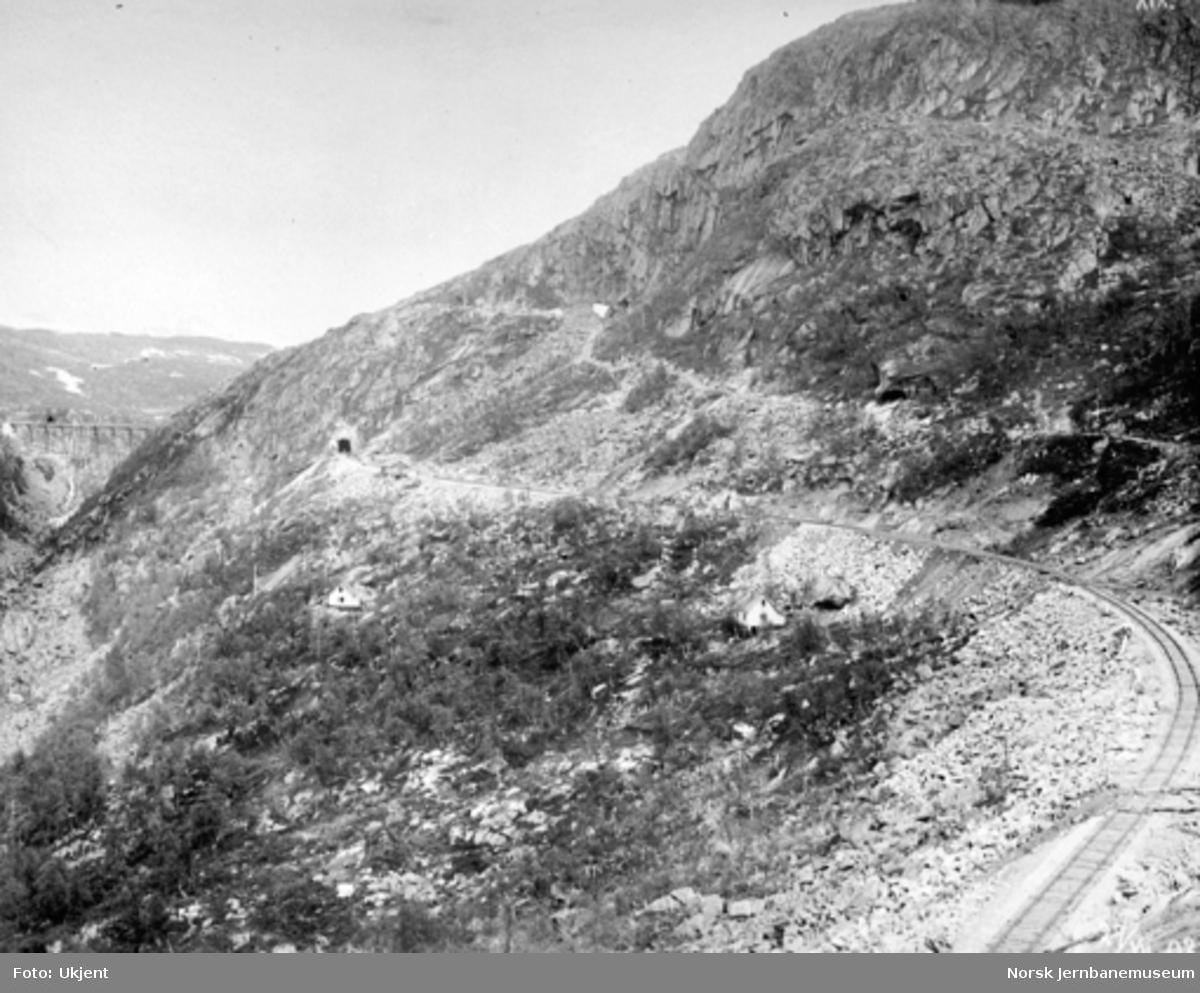 Byggingen av Norddalsbrua : Oversiktsbilde med linjen sør for Norddal tunnel, anleggsvegen og med brua i bakgrunnen
