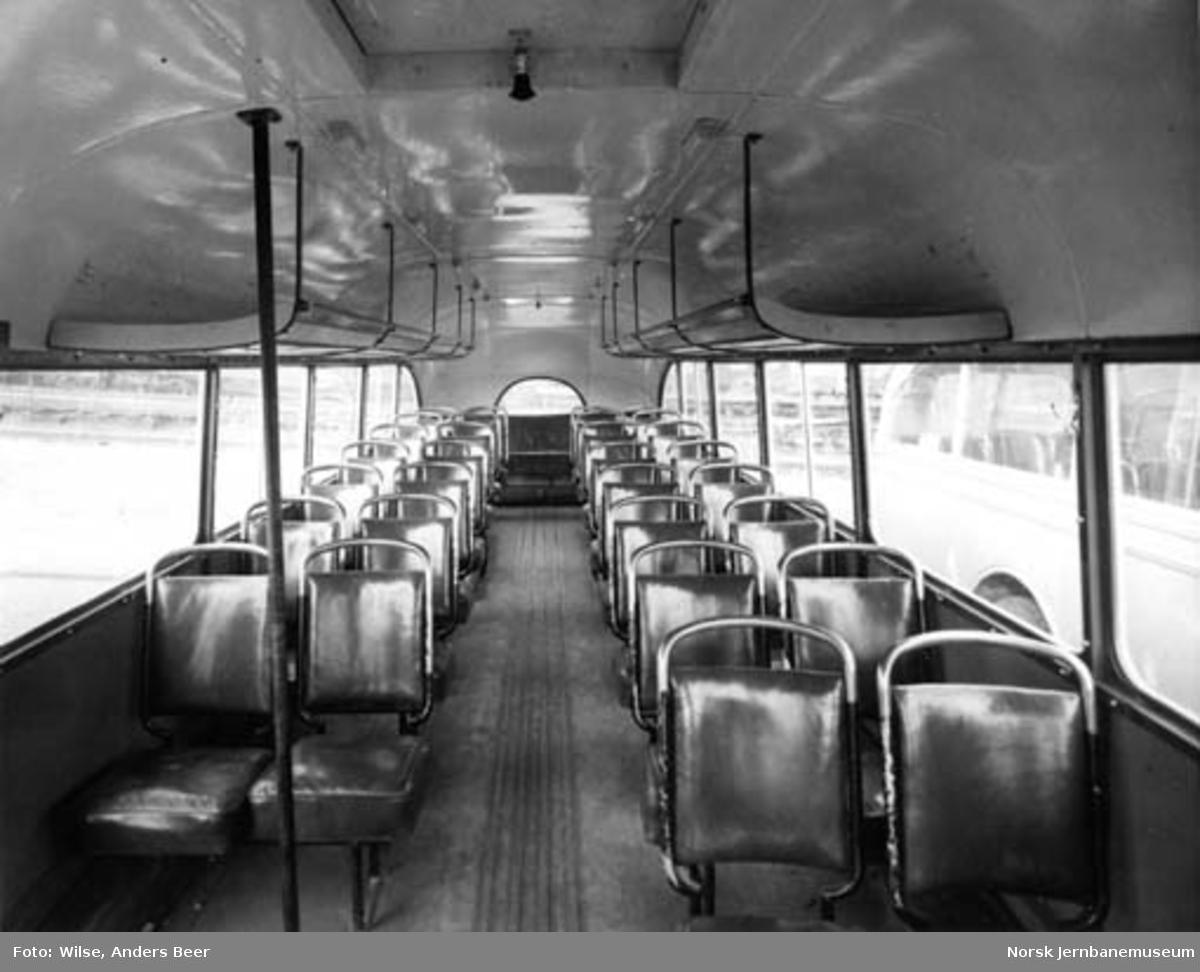 Interiørbilde fra buss tilhørende NSB Odal-Eidsvollruta