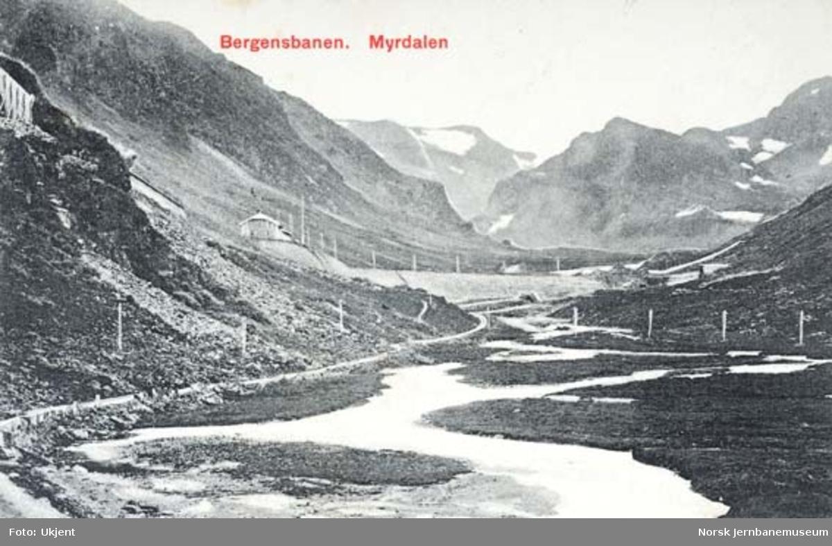 Myrdal stasjon sett fra vegen mot Flåmsdalen