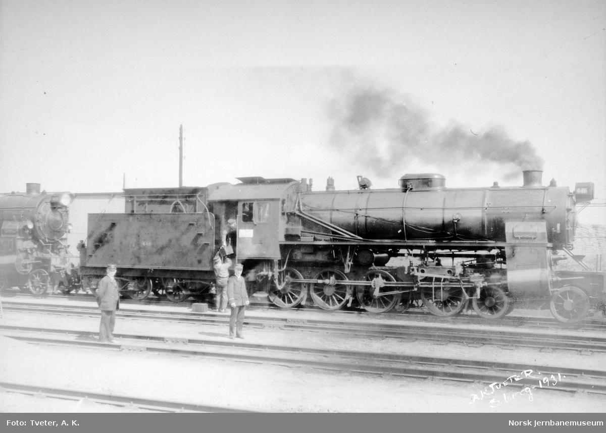 Damplokomotiv type 31b nr. 448 i Sarpsborg i forbindelse med belastningsprøve Sarpsfossen bru