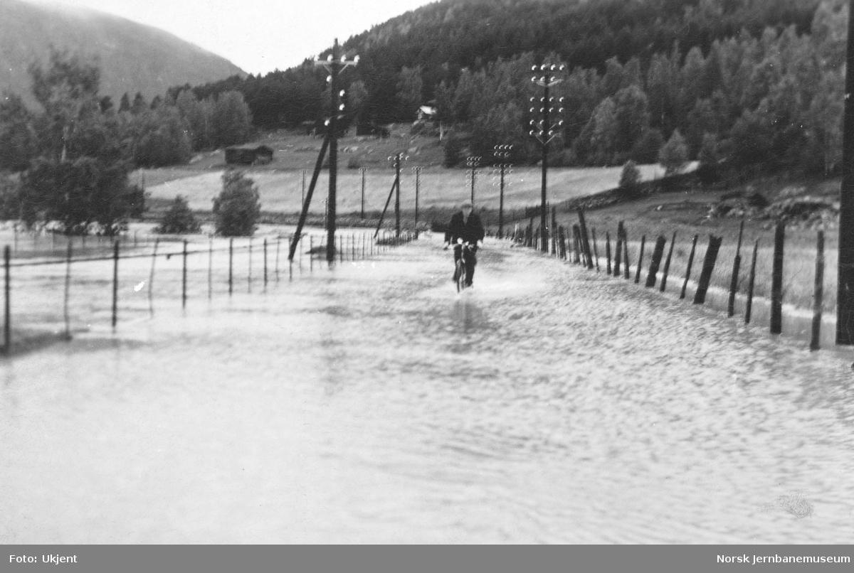 Flommen i 1938 : jernbanelinjen oversvømmet i Ellingsvika nord for Vinstra