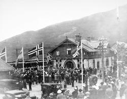 Narvik stasjon ved Ofotbanens åpning for elektrisk drift