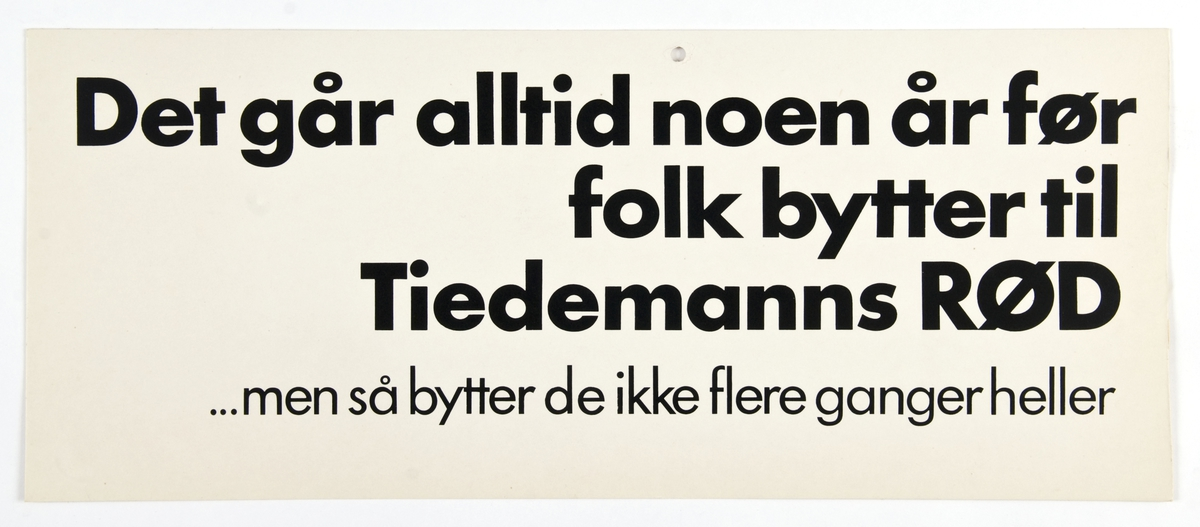 Reklameskilt for Tiedemanns Rød tobakk.