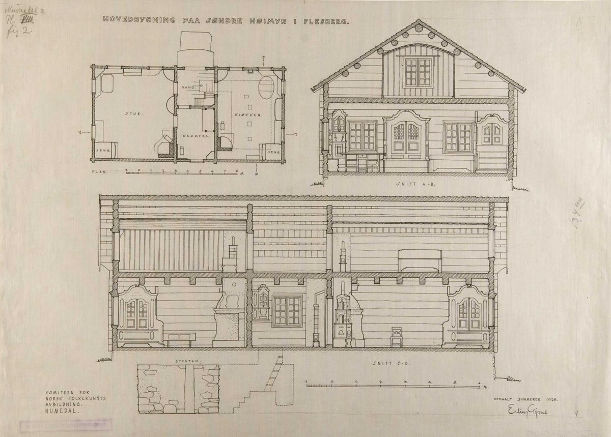 Erling Gjones tegning (1928) av grunnplan, tverrsnitt og lengdesnitt av hovedbygning, Søre Høymyr, Flesberg, Buskerud.