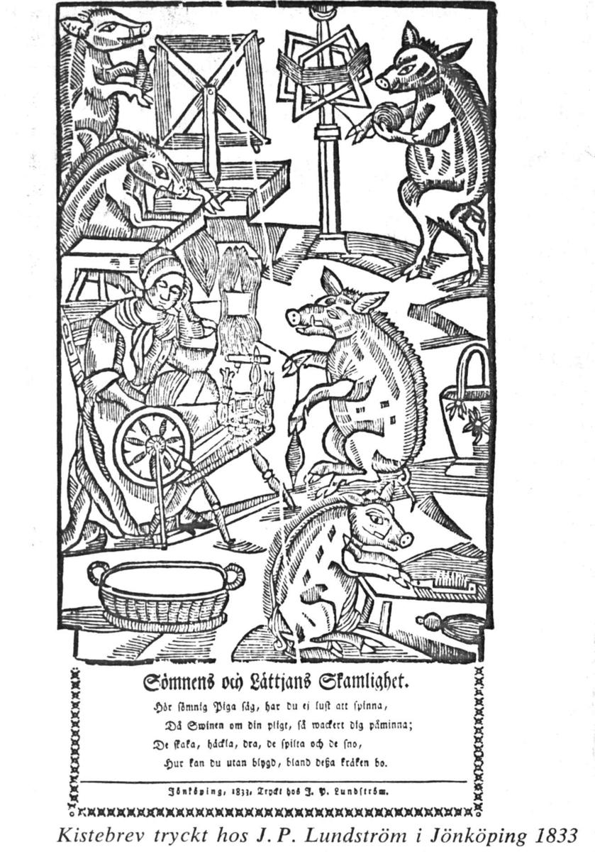 Kistebrev i kiste fra begynnelsen av 1600-tallet. Innskriften er illustrert med en kvinne som spinner og svin som karder og hesper. Fra utstilling på Norsk Folkemuseum 1947, Tjøtta-utstillingen.