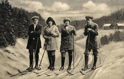Postkort. Jule- og nyttårshilsen. Fotografisk moiv, tegnet bakgrunn. Landskap med bebyggelse. Skiløpere. Stemplet 22.12.1903.