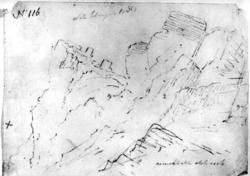 """Ukjent stedFra skissealbum av John W. Edy, """"Drawings Norway"""