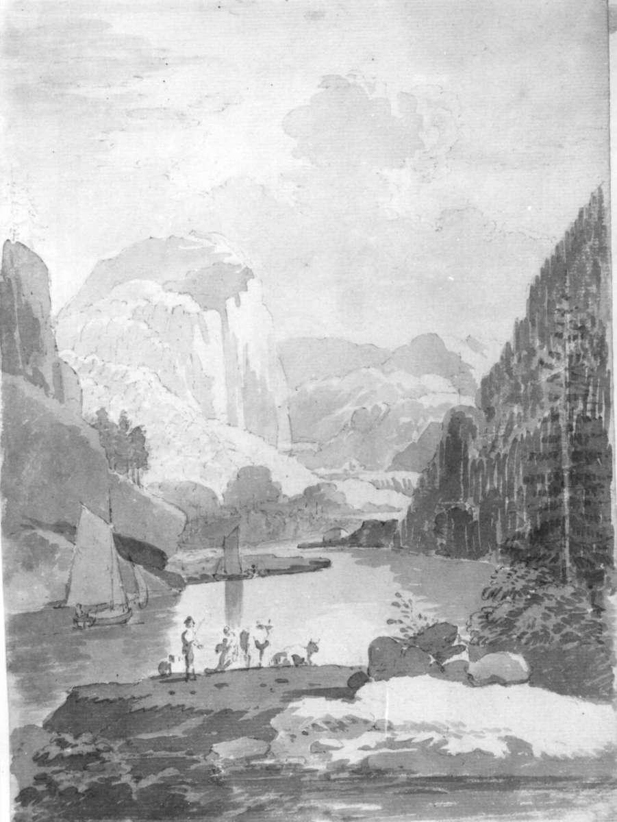 "Langangen ?Fra skissealbum av John W. Edy, ""Drawings Norway 1800""."