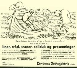 Christiania Seildugsfabrik, Oslo. Tegninger til reklamemater