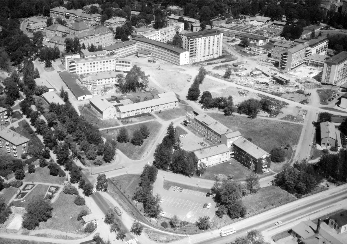 Flygfoto över Akademiska sjukhuset, Uppsala 1966