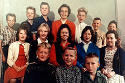 Skoleelever ved Byremo Skule. Grindheim.