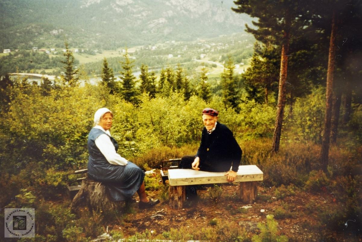 På tur i skjønn natur. Søsknene Anna gift Weisser og Torleiv Rydlende.