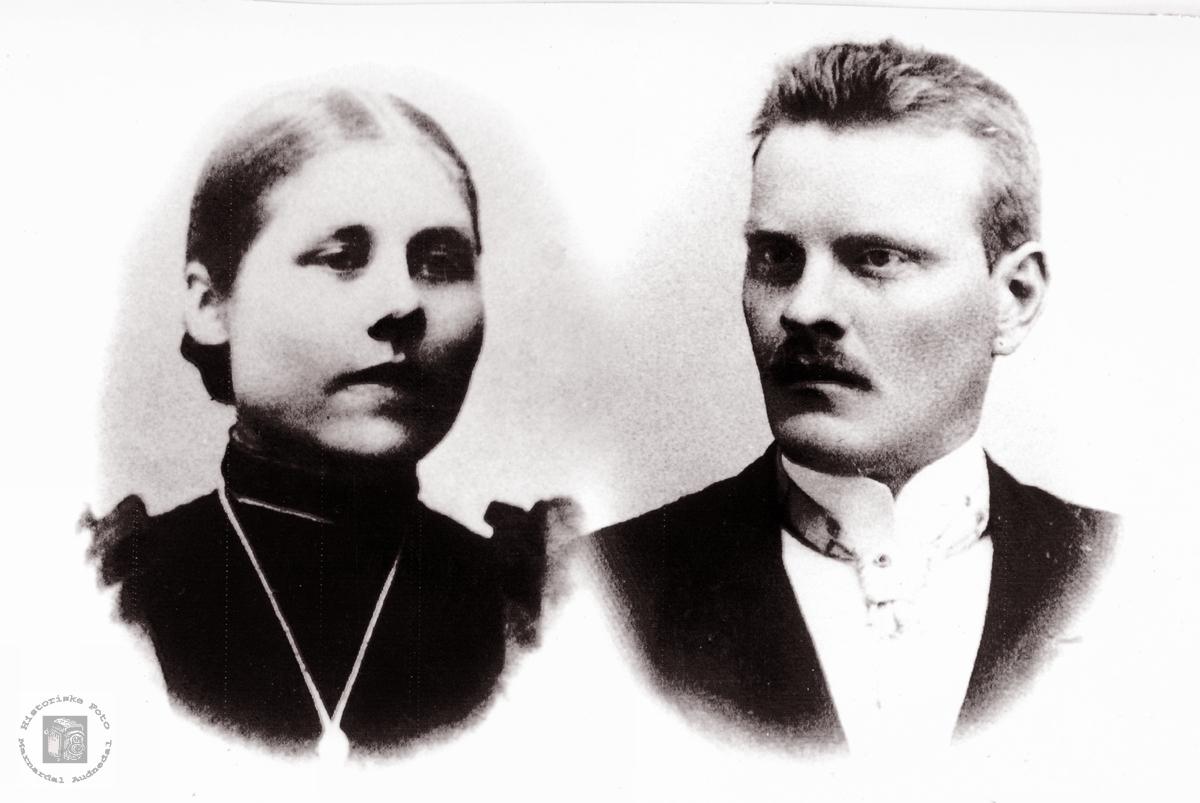 Portrett av ekteparet Anna og Tobias Skogen. Audnedal.