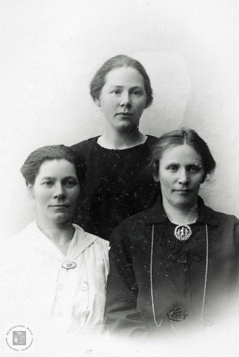 Portrett av tre jenter fra Selandsdalen. Grindheim Audnedal.