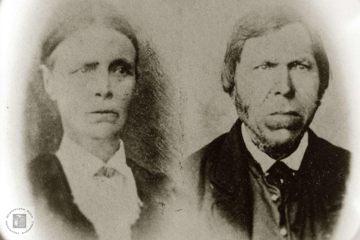 Portrett av ekteparet Guri og Torje Refsnes. Grindheim Audnedal.