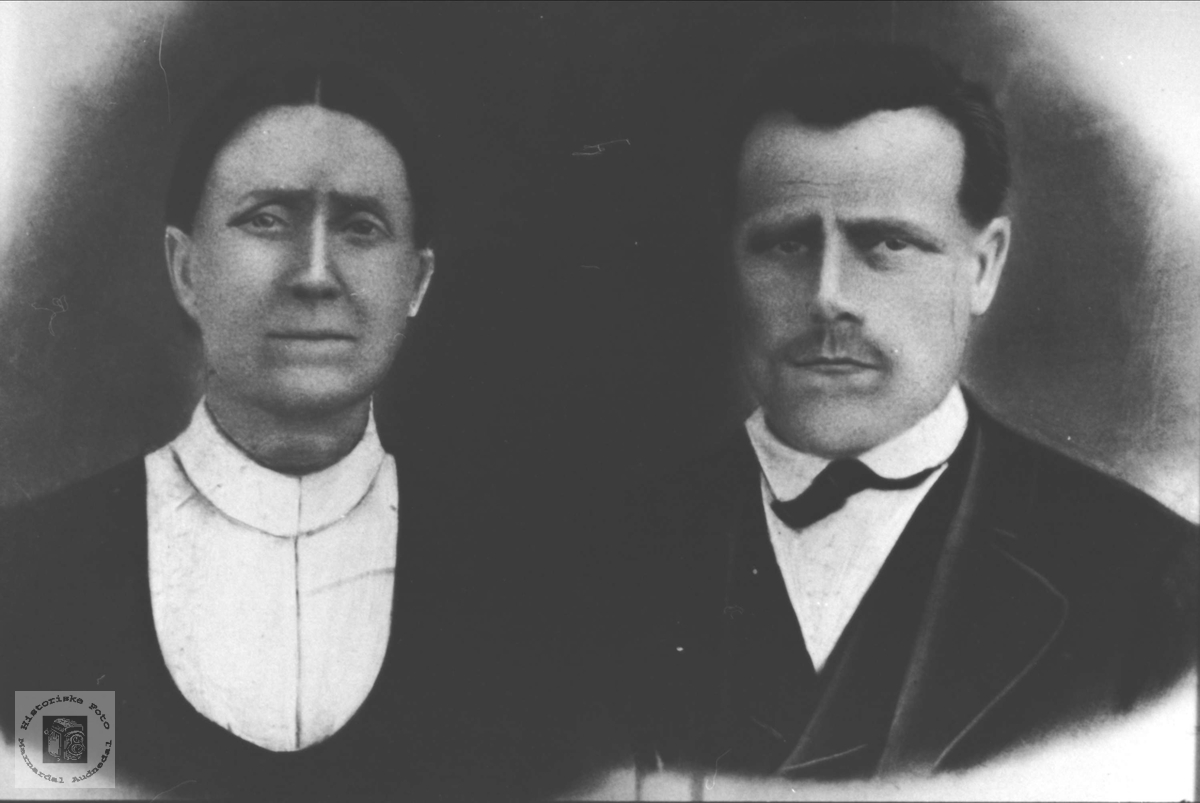 Portrett av ekteparet Targjer og Lars Trygsland, Bjelland.