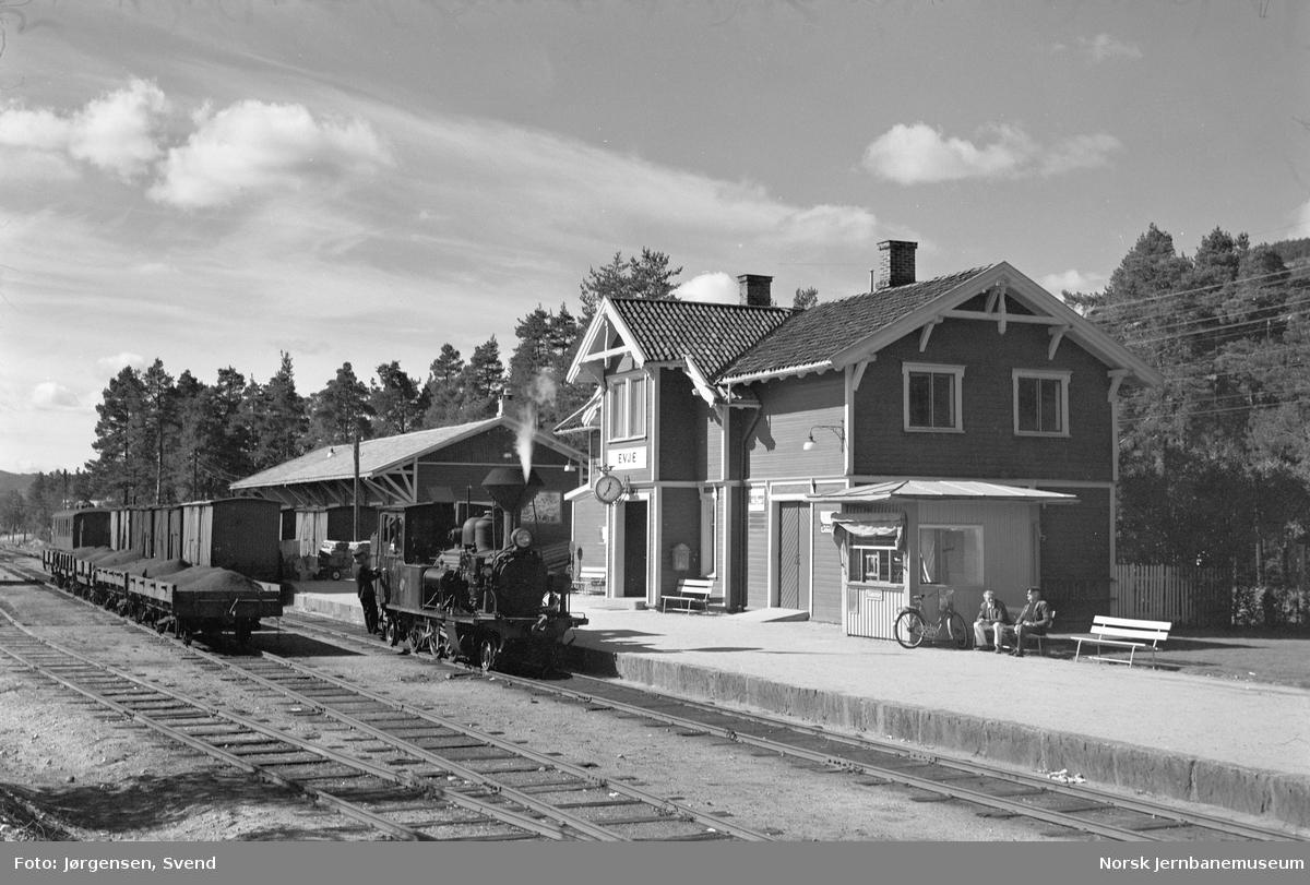 Damplokomotiv nr. 5 med godstog på Evje stasjon