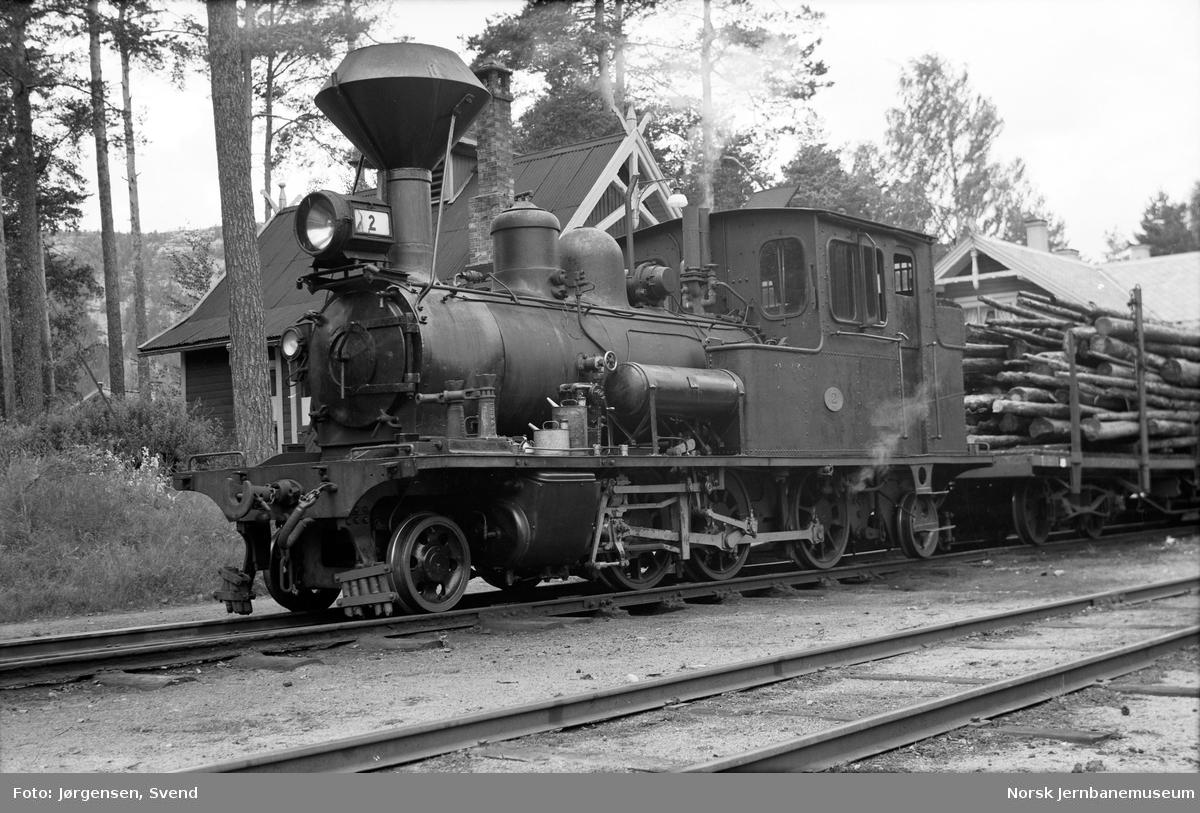 Damplokomotiv nr. 2 på Byglandsfjord stasjon