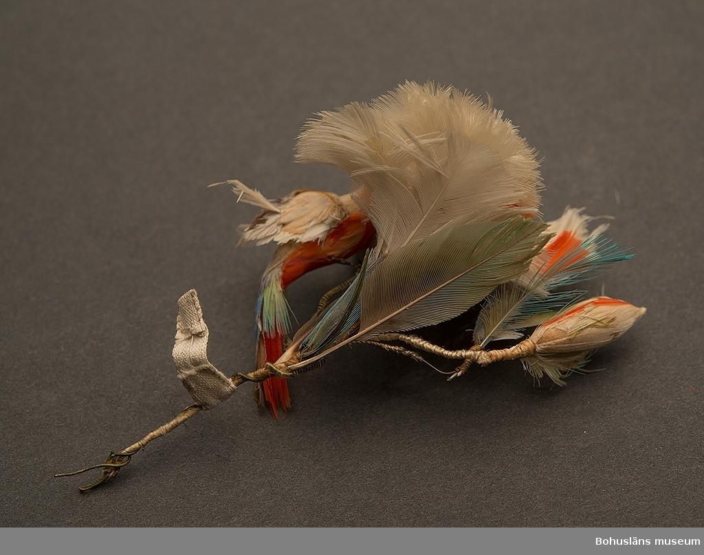 Konstrikt arbete av fjädrar i olika färger format som en nejlika och dekorerat med en fågel, fästat på en järntråd.  I äldre katalog angivet som ett möjligen japanskt arbete.  Ur handskrivna katalogen 1957-1958: Nejlika o fågel. fjäder. Jap. En nejlika m. en utslagen blomma och 2 knoppar, jämte en fågel, allt av fjädrar fäst på järntråd. Helt.  Lappkatalog: 10
