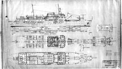 Generalarrangementstegning av B/N 550 Nord-Norge bygget av A