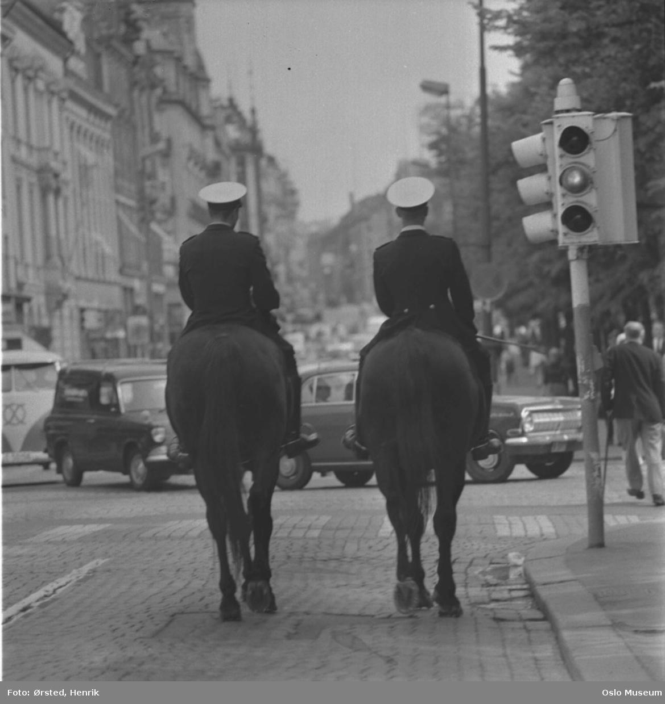 politimenn, hester, ridende politi, trafikklys, gateliv