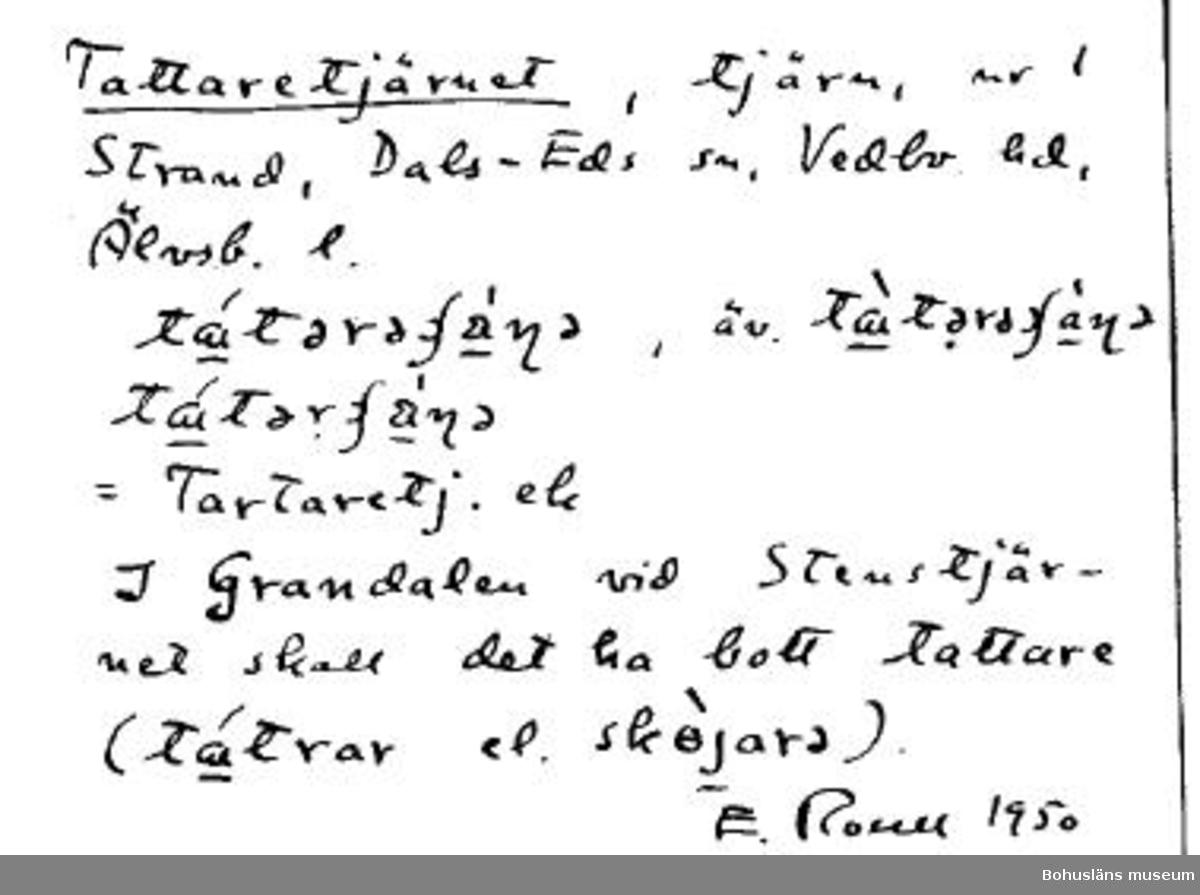 I Ortnamnsregistret görs 1950 en koppling mellan Tattaretjärnet och närbelägna Grandalen.
