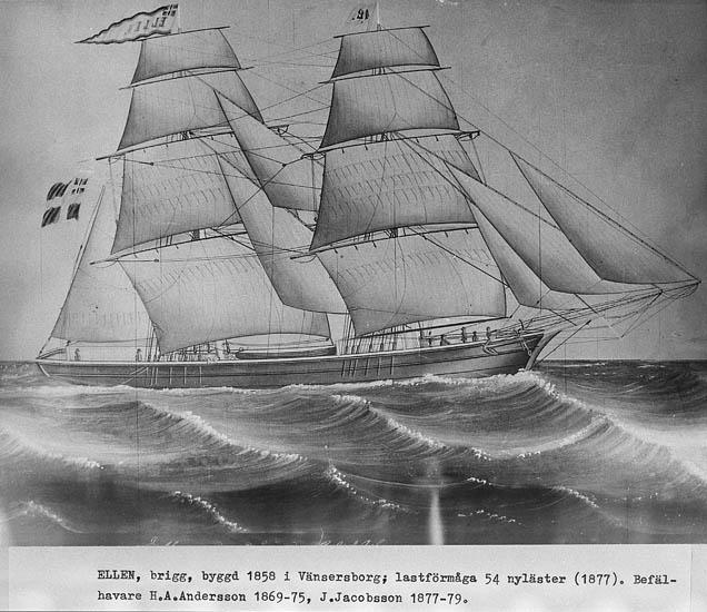 """Text som medföljer kortet: """"Ellen"""" brigg, byggd 1858 i Vänersborg, lastförmåga 54 nyläster (1877). Befälhavare H. A. Andersson 1869-75, J. Jacobsson 1877-79"""". Repro 1985 avfotografering tillhörande Tore Sjötterberg, Karlavägen 69, Stocholm."""