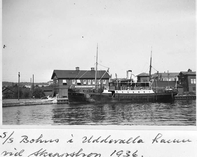 """Text på kortet: """"s/s """"Bohus"""" i Uddevalla hamn vid skeppsbron 1936""""."""