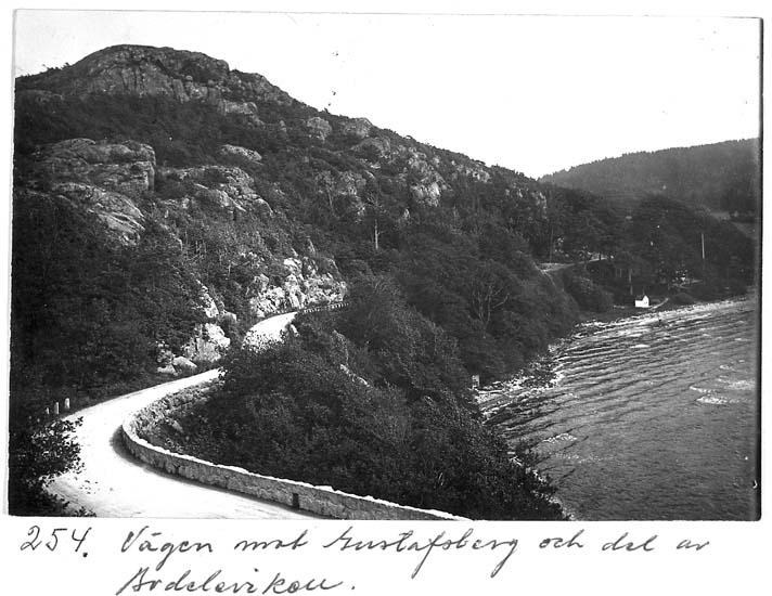 """Text på kortet: """"254. Vägen mot Gustafsberg och del av Bodeleviken""""."""