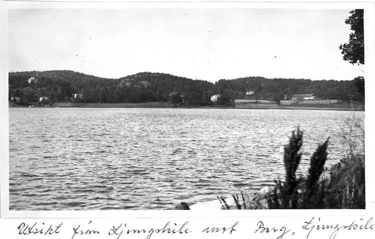 """Text på kortet: """"Utsikt från Ljungskile mot Berg, Ljungskile""""."""