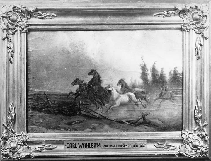 """Text på tavlan: """"Carl Wahlbom. 1810-1858: Skrämda hästar""""."""