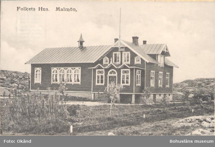"""Tryckt text på kortet: """"Folkets Hus. Malmön"""".  ::"""