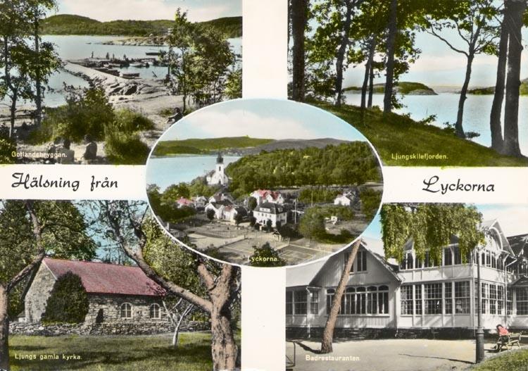 """Tryckt text på kortet: """"Hälsning från Ljungskile, Lyckorna"""". """"Gotlandsbryggan, Ljungskilefjorden, Ljungs gamla kyrka, Badrestauranten, Lyckorna""""."""