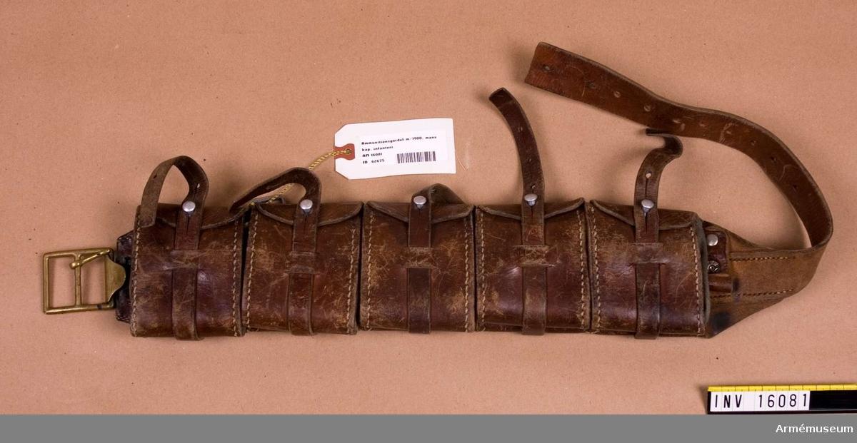 Ammunitiongördel m/1900, för infanteriet manskap, 5 st patronfickor för gevärsammunition, bärkrok saknas, förkortad livrem.