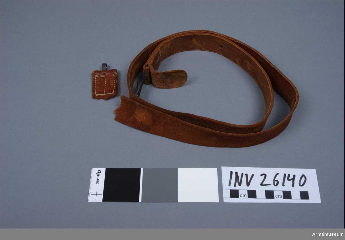 Grupp E II f Övertaliga. Rem av brunt läder. I främre änden är den fastsydd kring den ten, vilken tjänstgör som främre rembygel. Den rätt långa remmen är även i andra änden fastsydd kring en liknande ten, från vars mitt dock en ganska lång järnhake utgår. Järnhaken kan inpassas i olika hål på remmen, varigenom karbinremmen kan ges olika längd. Modell på karbinrem fastställdes den 30 mars 1885.Enl J.Alm  Samhörande nr är: AM.26139-40