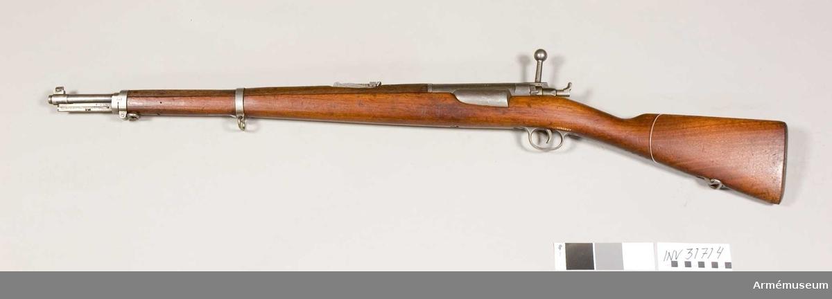 Samhörande nr 31714-7, gevär, bajonett, balja, mynningsskydd.Gevär m/1889, Danmark.Grupp E II.
