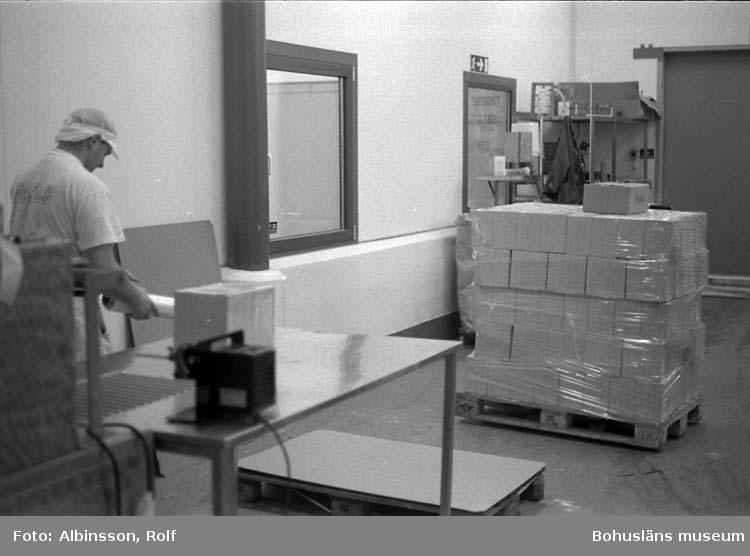 """Enligt fotografens noteringar: """" ... visar kartongerna kommer till Erik Flatting från rummet intill. Rätt ordning skulle varit 230, 228, 229. Erik kallar denna station för """"gratängpacket"""". (AC. Fortsättning från bild 227). Fototid: 1996-01-19."""