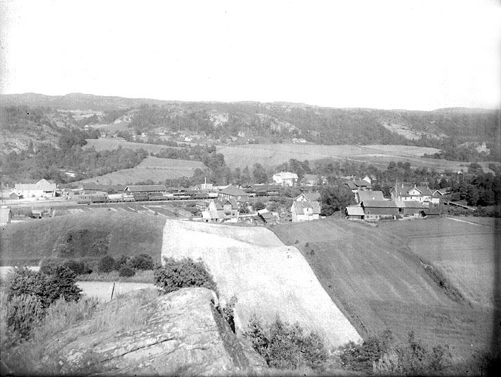 """Enligt noteringar: """"Munkedals stationssamhälle från 'Vallmans kula'. På åkrarna ligger  idag bostadsområdet Jonsängen, vilket är namnet på den gård som syns på bilden."""" (BJ)"""