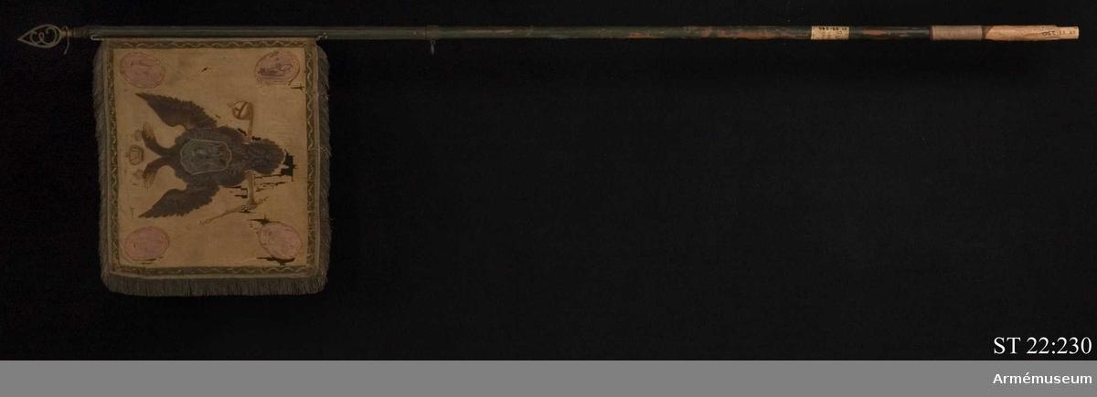 Duk av vitt siden med målad dekor och frans av metalltråd. På båda sidor avbildas den ryska dubbelörnen med andreasorden kring halsen. I de fyra hörnen ovala, rosa medaljonger med guldbård. Runt dukens fyra sidor löper en grön bård med vågigt mönster i guld. På yttre sidan syns St Georg och draken i en sköld på örnens bröst. I medaljongerna kejsarinnan Elisabet Petrovnas krönta monogram i guld. På inre sidan syns staden Elets vapensköld på örnens bröst. De två övre medaljongerna bär kejsarinnans monogram medan de nedre troligen anger kompaniets nummer. På duken är fäst en pergamentslapp med uppgift om att standaret är taget i slaget vid Svensksund 1790. Duken är fäst vid en tunn järnten som i sin tur är fäst i öglor på standarstången. Spets med Elisabeths initial.