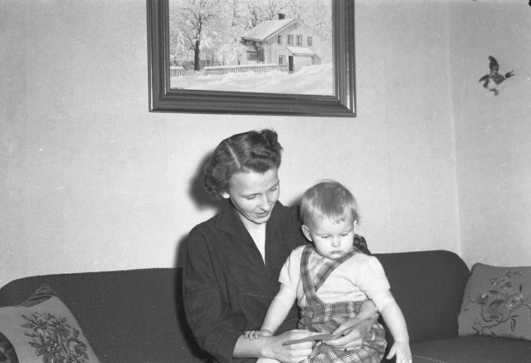 """Text till bilden: """"Överlämnande av insamling t. Fru Strandberg. 1954.11"""""""