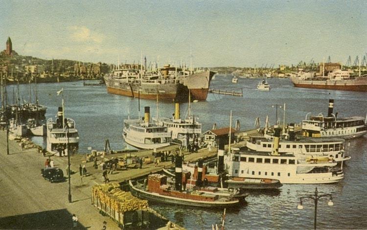 Notering på kortet: Göteborg. Hamnen. Träpiren.