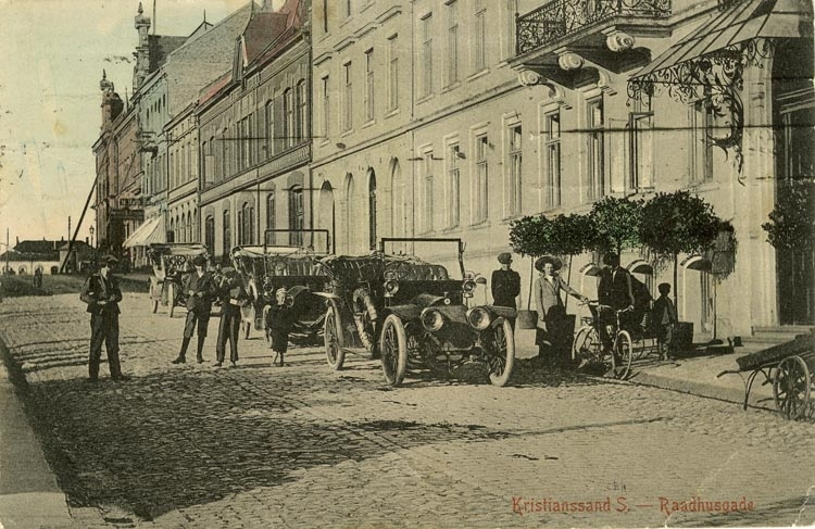 Notering på kortet: Kristinssand S. Raadhusgade.