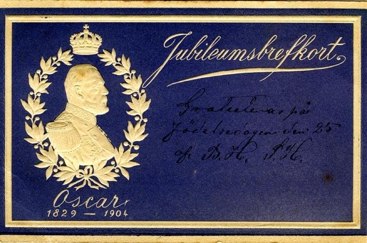 """Brevkort. """"Jubileumsbrefkort. Oscar 1829-1904"""""""