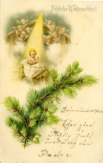 Notering på kortet: Fröhliche Weihnachten!