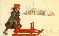 """Kort: """"Godt Nytt År!"""" Flicka som är ute med kälke i snölands"""
