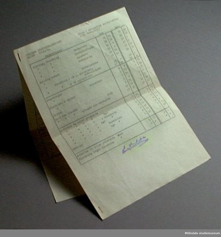 A 4, ligger i ett brunt kuvert. Prislista från 1953.